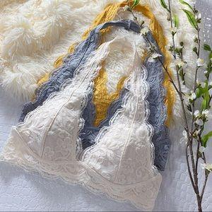 Infinity Raine Intimates & Sleepwear - Cream Lace Halter Bralette